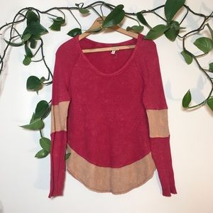 Free people waffle knit thermal red tan
